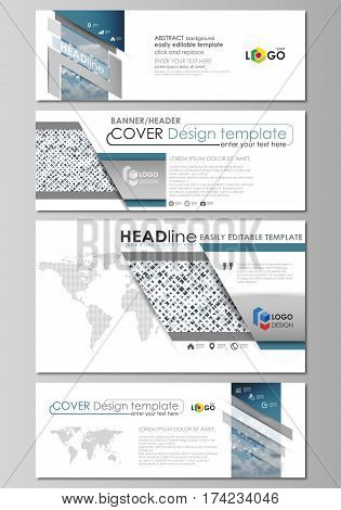 Social media and email headers set, modern banners. Business templates. Easy editable abstract design template, flat layout in popular sizes, vector illustration. Blue color pattern with rhombuses, abstract design geometrical vector background. Simple mod