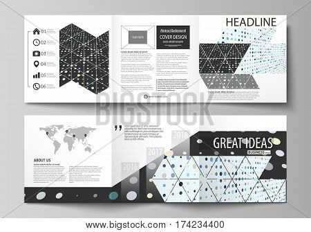 Set of business templates for tri fold square design brochures. Leaflet cover, abstract flat layout, easy editable vector. Abstract soft color dots with illusion of depth and perspective, dotted technology background. Multicolored particles, modern patter