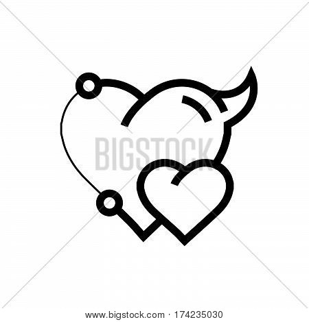 Two Heart Devil Pen tool Style vector design support eps10.