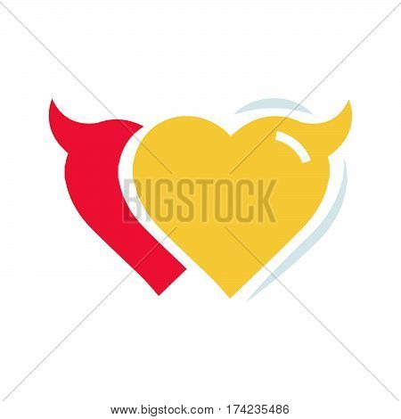 Twins Heart of Devil love flat icon