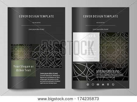 Business templates for brochure, magazine, flyer, booklet or annual report. Cover design template, easy editable vector, abstract flat layout in A4 size. Celtic pattern. Abstract ornament, geometric vintage texture, medieval classic ethnic style.