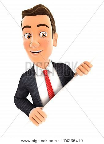 3d businessman behind diagonal wall illustration with isolated white background