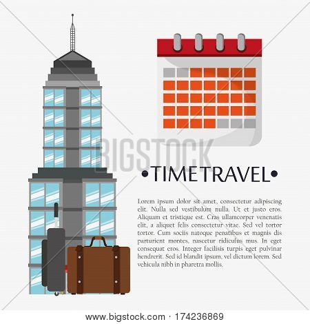 time travel poster calendar landmark vector illustration eps 10