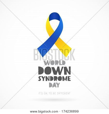 World Down Syndrome Day. Lettering. Vector illustration on white background. Blue and yellow ribbon. Health concept