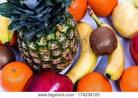 Fresh fruits. Healthy food. Mixed fruits. Healthy eating, dieting, love fruits. Assorted fruits on white table. Organic Healthy fruit. Fresh raw full of freshness and it is very healthy