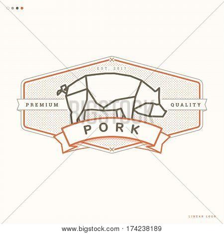 simple pork linear logo butcher vintage badge