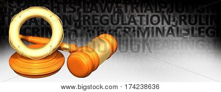 Life Preserver Legal Gavel Concept 3D Illustration