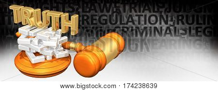 Truth On A Stack Of Lies Legal Gavel Concept 3D Illustration
