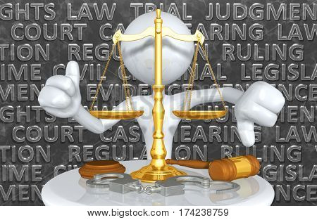 Law Concept With The Original 3D Character Illustration