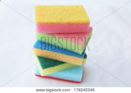 Dishwashing sponge Car wash to clean White background.