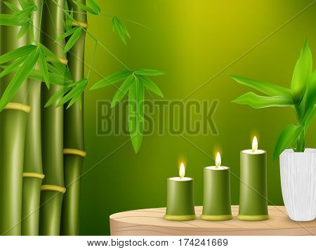 Vector illustration of Spa background with bamboo and candles