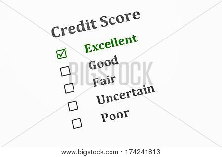 The Credit score form. Business financial concept.