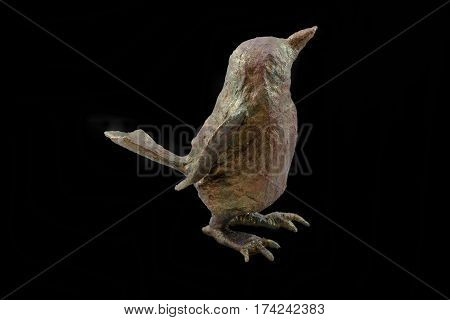 Isolated papier-mache decoration bird with a pattern