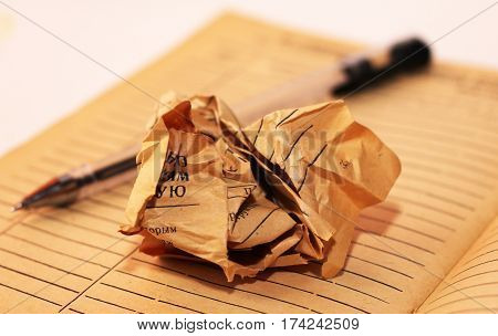 Old crumpled paper on notebook retro. Papyrus