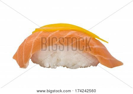 Nigiri Sushi with Orange Slice of Salmon Isolated on White Background.