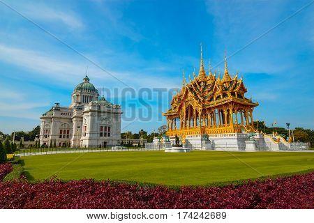 Ananta Samakhom Throne Hall With Barom Mangalanusarani Pavilion At The Royal Dusit Palace In Bangkok