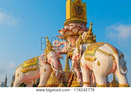 Bangkok, Thailand - February 21 2017: The Elephants Statues In Front Of Wat Phrakew Temple And The G