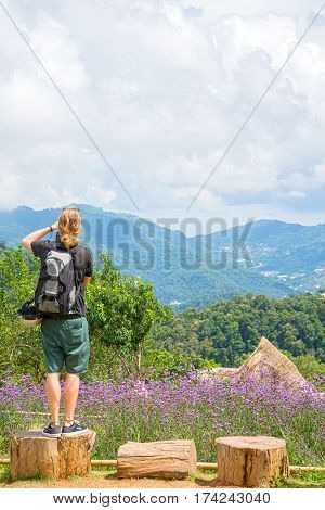 Man Looking Stunning Views of Mon Jam Mountain Chaingmai Thailand.