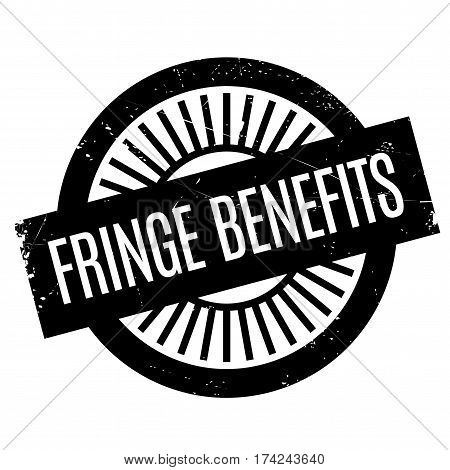 Fringe Benefits rubber stamp. Grunge design with dust scratches. Effects can be easily removed for a clean, crisp look. Color is easily changed.