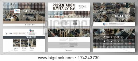Business templates in HD format for presentation slides. Easy editable abstract vector layouts in flat design. Colorful background made of dotted texture for travel business, urban cityscape