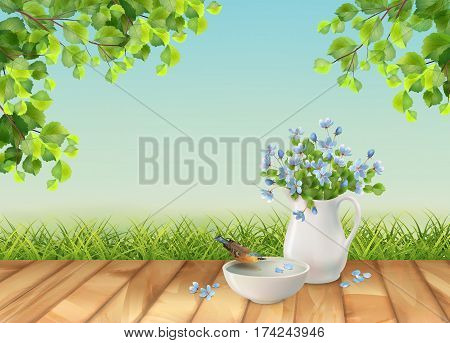 Vector summer landscape with grass, tree branches, bouquet in ceramic jug and bird drinking water from a pottery bowl