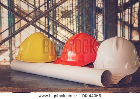 Construction Concepts, Engineer And Architect Working At Construction Site With Blueprint, Vintage E