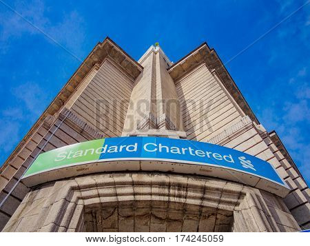 Penang, Malaysia - January 28, 2017: Standard Chartered bank Office. Standard Chartered PLC is a British multinational banking and financial services company headquartered in London.