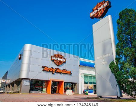 Auto City, Penang, Malaysia - January 29, 2017: Harley-Davidson shop and Office. Harley-Davidson, or Harley, is an American motorcycle manufacturer, founded in Milwaukee, Wisconsin in 1903