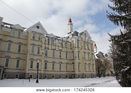 Building 50 in winter.  Once part of the Traverse City Regional Psychiatric Hospital.