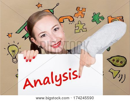Young woman holding whiteboard with writing word: analysis. Technology, internet, business and marketing