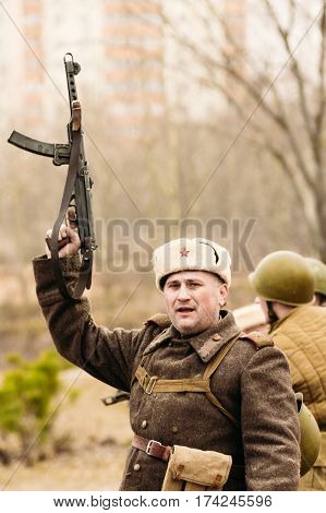 Gomel, Belarus - 26 November 2016: The commander of the Soviet troops of the Great Patriotic War celebrates winning the battle