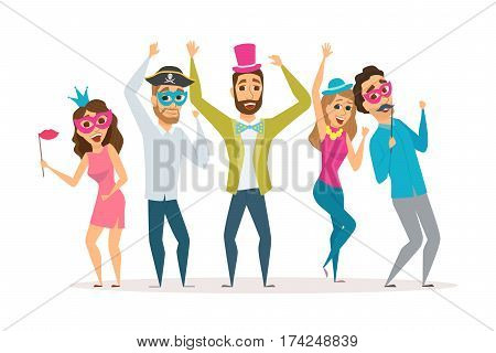 People at the carnival party. Friends celebrating birthday and laughing together. Group of happy men and women in costume at the masquerade. Cartoon characters with photo props in fancy dress ball
