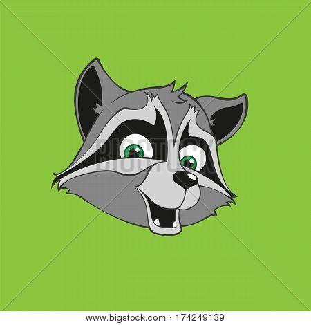 Cute raccoon icon sticker. Head raccoon. Vector illustration.