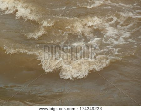 These are waves breaking in the rapids in Guadalupe River in San Jose, california
