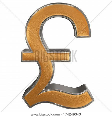 Symbol Of British Pound Sterling, Isolated On White  Background, 3D Illustration