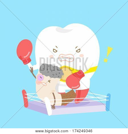 cartoon teeth beat cigarettes with health concept