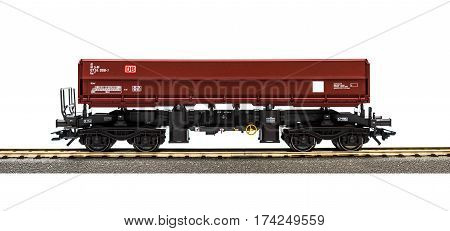 Estonia, Tallinn, February 24. 2017. Freight train model railroad on white background