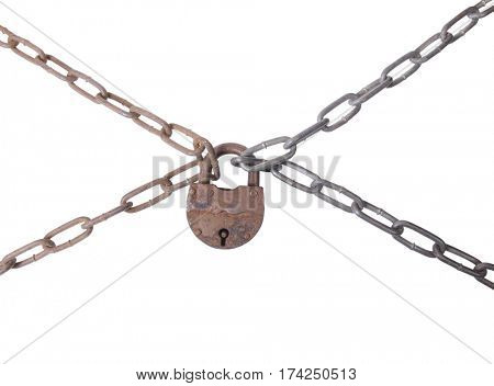 Metal chain and lock on white background