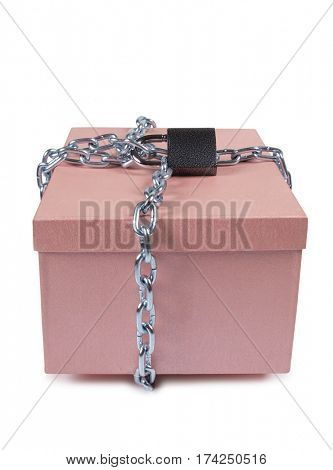 Pink cardboard box and metal chain on white background