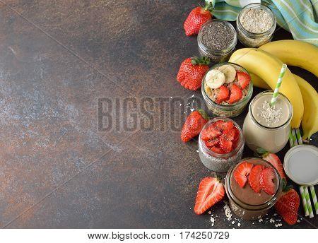 Vegan desserts on a brown background close up