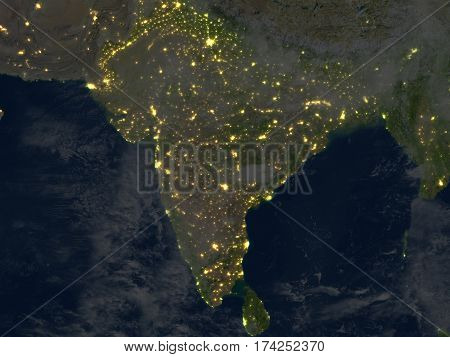 Indian Subcontinent At Night On Planet Earth