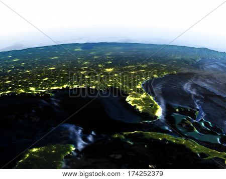 East Coast Of Usa On Earth At Night - Visible Ocean Floor