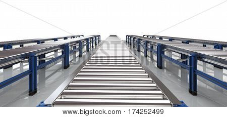 3d rendering empty conveyor belt with white background