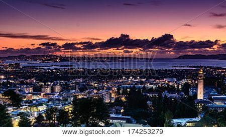 The San Francisco Bay and Berkeley city as seen from the hills in Berkeley