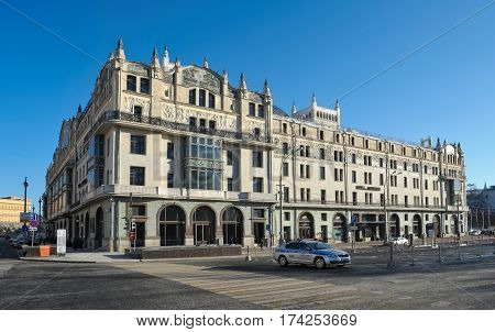 MOSCOW, RUSSIA - JANUARY 30, 2017: Hotel Metropol 5 stars the view from the Theatre Square built in the Art Nouveau style in the years 1899-1905