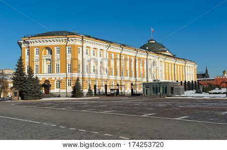 View of the building of the Senate in the Moscow Kremlin built 1776 - 1787 years by the architect M.F. Kazakova