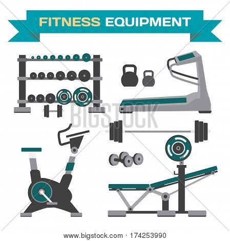 Set of gym training bodybuilding healthy and active lifestyle fitness elements. Functional training equipment. Flat cartoon isolated vector illustration