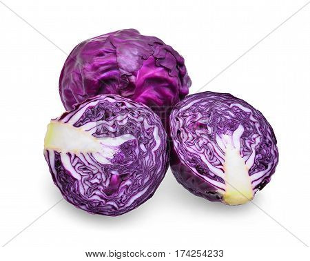 Purple cabbage isolated on th white background