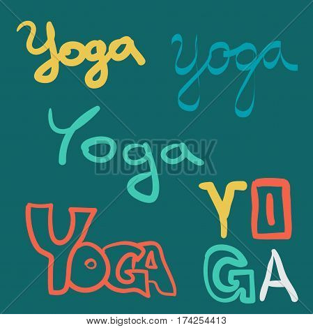 Vector set of yoga sketch style elements. Typography and lettering print template. Graphic design for poster advertising