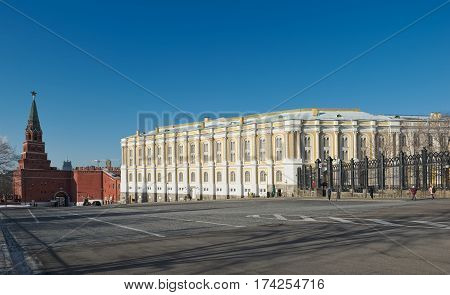View of the Armoury Chamber and Borovitskaya tower Kremlin building was built in 1851